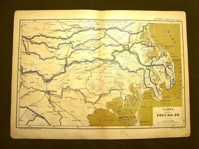 Cartina Geografica Fiume Po.Le Foci Del Fiume Po Rara Mappa O Carta Geografica Del 1890 Gustavo Strafforello Ebay