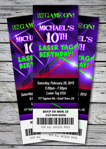 Laser tag glow neon birthday party invitation ticket stub skates image is loading laser tag glow neon birthday party invitation ticket stopboris Image collections