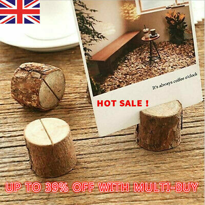 3* Tree Stump Design Wooden Photo Clips Card Holder Message Stand Gifts 2019 Hot