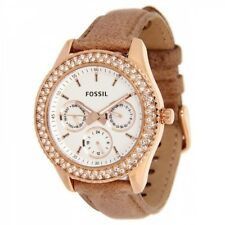 FOSSIL STELLA ES3104 LADIES CRYSTALS ROSE GOLD STEEL CASE WHITE FACE DAY DATE