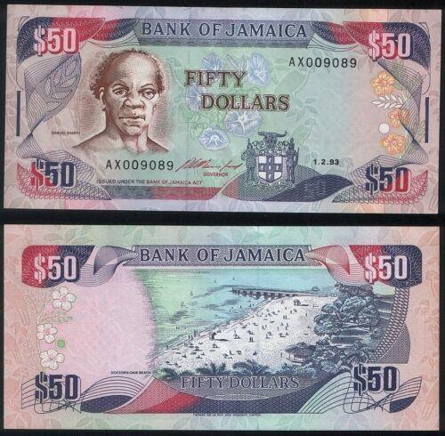 aUNC 50 Dollars 1993 Jamaica P 73 b
