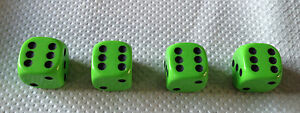 Set-of-4-LIME-GREEN-Dice-Dust-Valve-Caps-novelty
