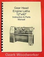 12 X 40 Metal Lathe Instructions Parts Manual-jet,enco,grizzly,msc,asian 0771