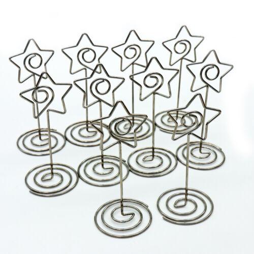 10pcs Table Number Place Card Holder Heart Star Shape Memo Photo Holder Wedding