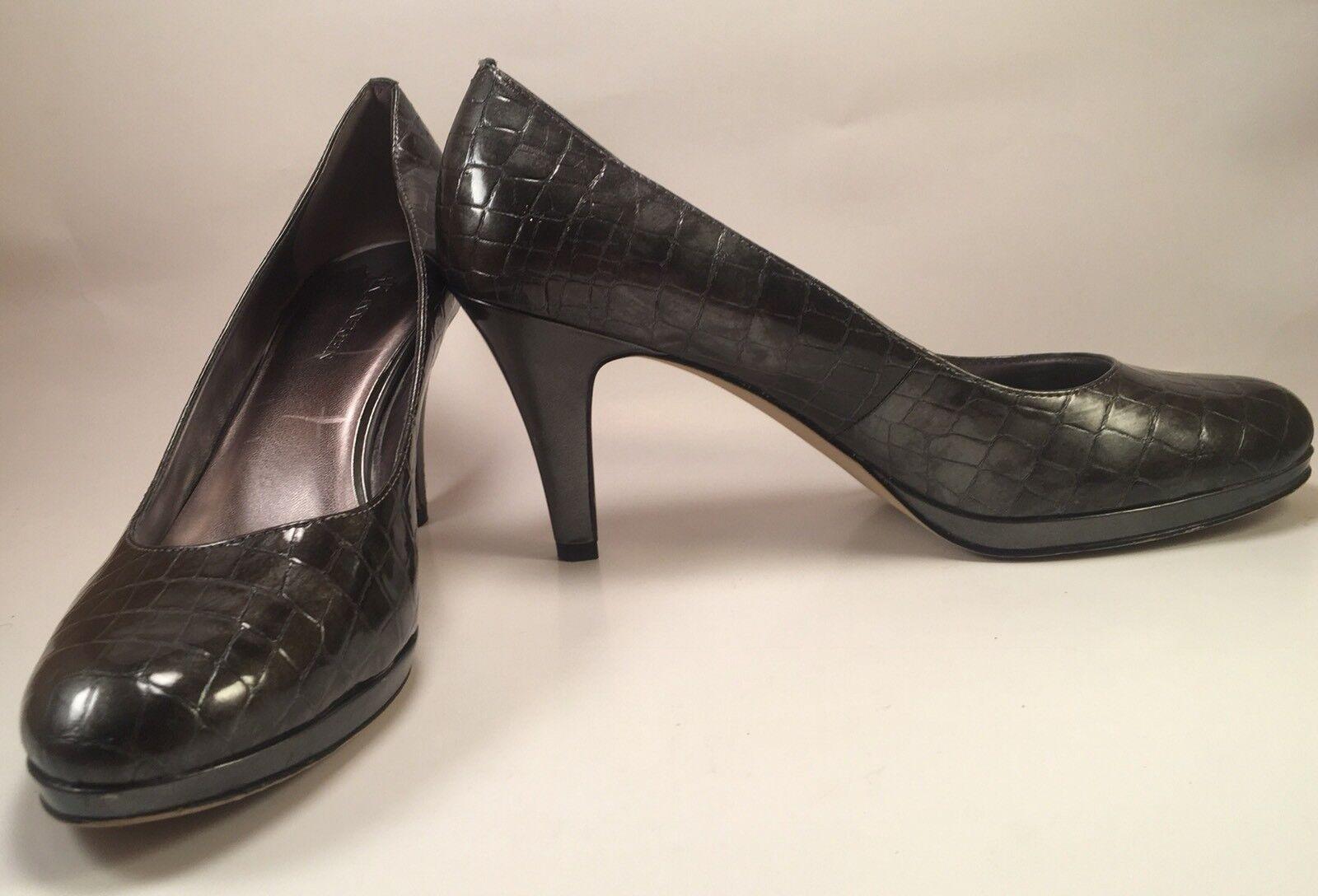 AK ANNE Size KLEIN Pewter AKWYSTERE Womens Size ANNE 10 Textured Platform Pumps (E) 8c1f3b