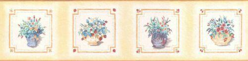 B4278 pretty flower vases wallpaper border