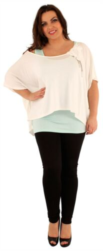 Womens Plus Size 2 In 1 Flower Baggy Tops Batwing Sleeve Chiffon Tunic Tops