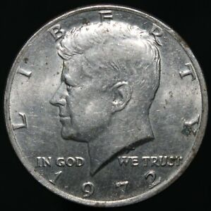 1972-U-S-A-Kennedy-Half-Dollar-Cupro-Nickel-Clad-Copper-Coins-KM-Coins