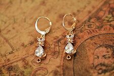 AamiraA 18K Gold Plated Cat Zircon AAA+ Designer Brass Earrings Dangles