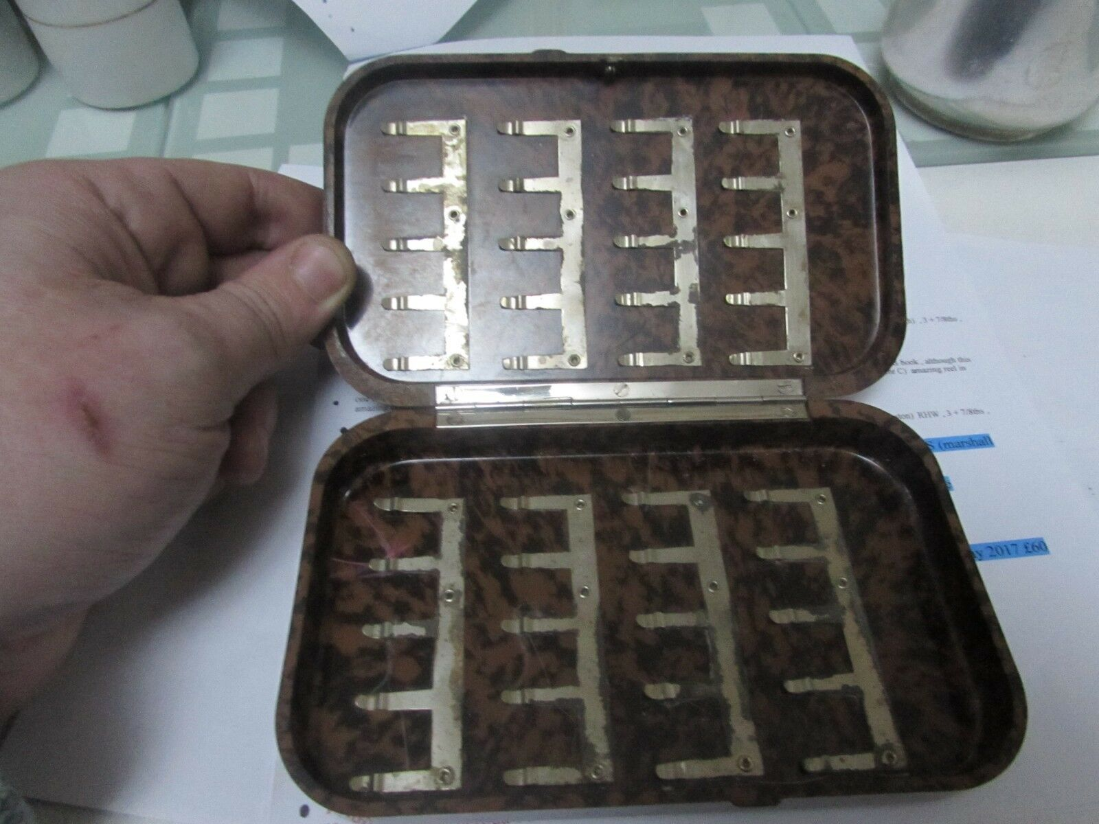Vintage rare hardy large tortoise shell blackda slim salmon combs fly fishing box