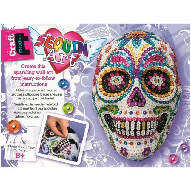 KSG SEQUIN ART 3D SUGAR SKULL PLAQUE BRAND NEW /& BOXED!!