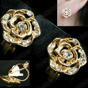 CLIP-ON-gold-fashion-CRYSTAL-ROSE-vintage-antique-style-EARRINGS-rhinestone