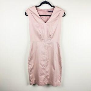 Basque Women's Size 8 Blush Pink Sleeveless V-Neck Knee Length Bodycon Dress