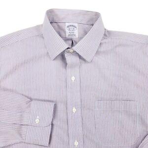 BROOKS-BROTHERS-Regent-NON-IRON-Dress-Shirt-16-5-36-Supima-Blue-Vertical-Striped
