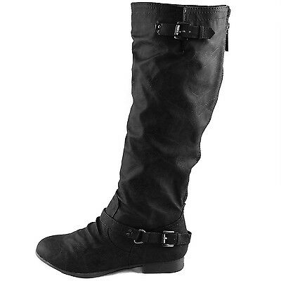 Women Mid Calf Knee High Motorcycle Riding Military Combat Ankle Strap Boots