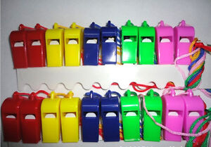 Lot-of-24-Plastic-Whistle-amp-Lanyard-Emergency-Survival-High-Quality-E9C