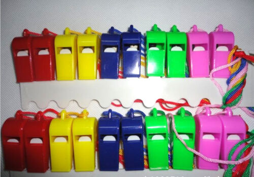 Lot of 20 Plastic Whistle /& Lanyard Emergency Survival Newest $m