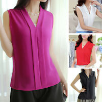Womens Ladies Sleeveless Blouse Chiffon V Neck Wrap Front T Shirt Work Top XN