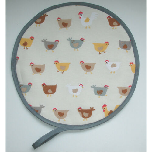 Aga Range Hob Hat Lid Mat Cover with Loop Cook Chickens Yellow Brown Chef Pad