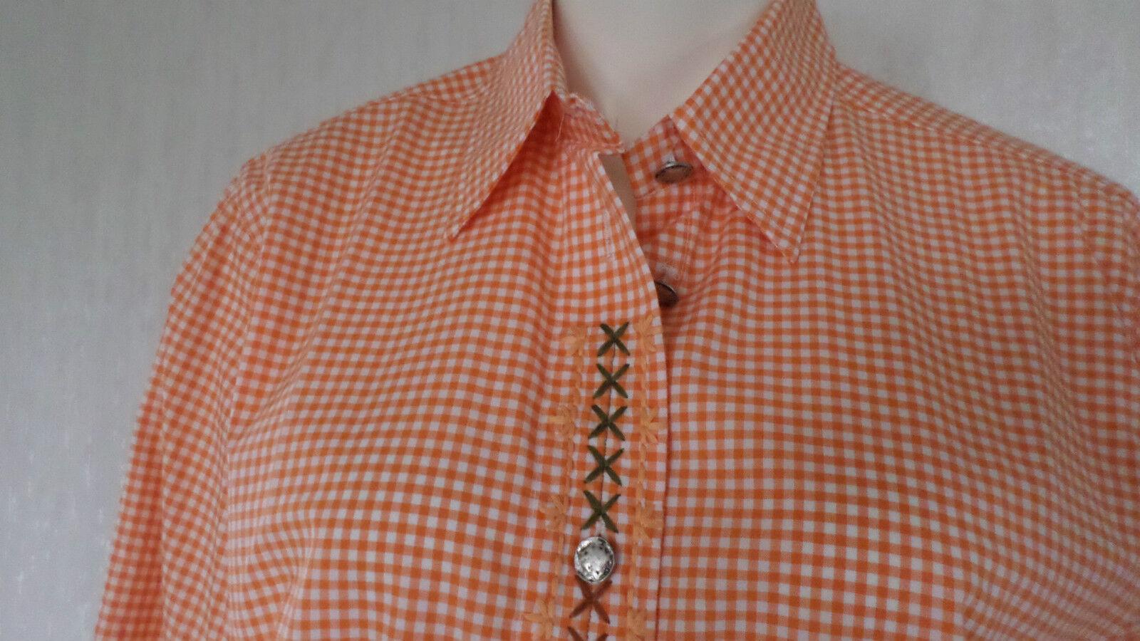 Damen Bluse Trachtenbluse OS TRACHTEN Stickerei Kariert Baumwolle Gr.-40 NEUWARE
