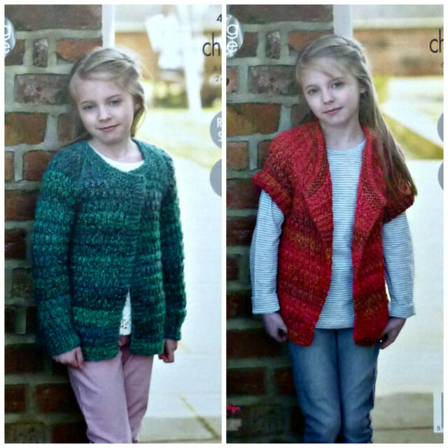 Knitting Pattern Girls Easy Knit Long Sleeve Cardigan Chunky 4668