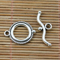 12sets Tibetan silver tone 2sided round toggle clasps EF2054