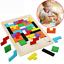 Bunt-Hoelzern-Tangram-Puzzle-Tetris-Spielzeug-Geometrie-Lernspiel-Formenspiel-DE Indexbild 1