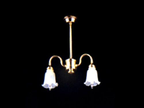 1//12 Casa De Muñecas Luz 2 Bronce Brazo Tulip Sombra Araña Miniatura Iluminación Lbv