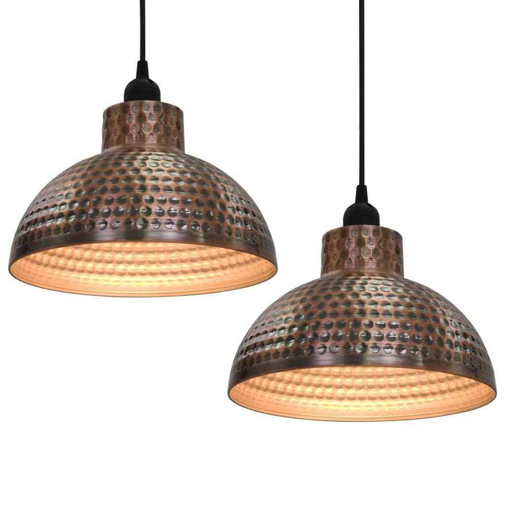 vidaXL 2x Lámparas de Techo Colgantes Estilo Indutrial Metal Color Cobre Luces