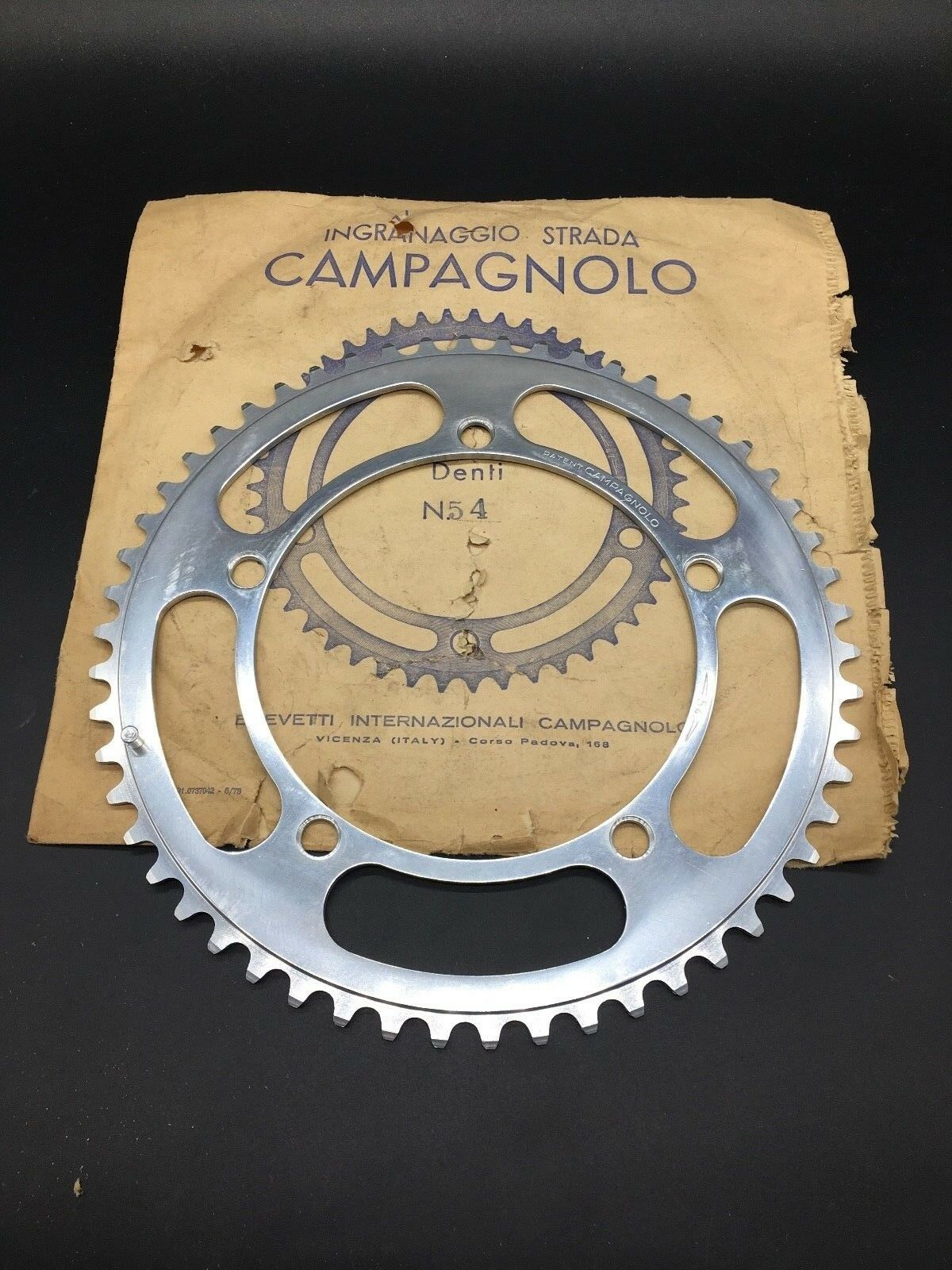 VINTAGE CAMPAGNOLO RECORD CHAINRING 54T 1 2  X 1 32  BCD 144 NIB NOS SUPER