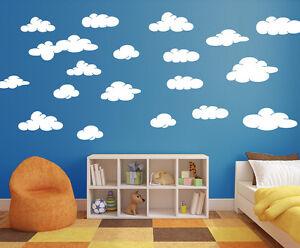 20-X-Cloud-Wall-Stickers-Removable-Matt-White-Decals-New-Kids-Room-Nursery-A355