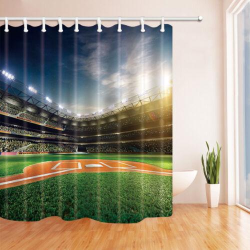 Béisbol Grand Arena de Poliéster Impermeable Baño Cortina de ducha conjunto con ganchos