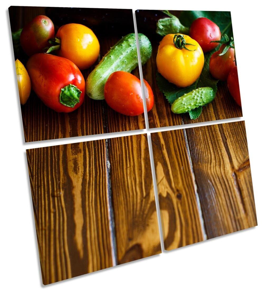 Fresh Fruit Veg Floorboards Picture MULTI CANVAS WALL ART ART ART Square 81574b