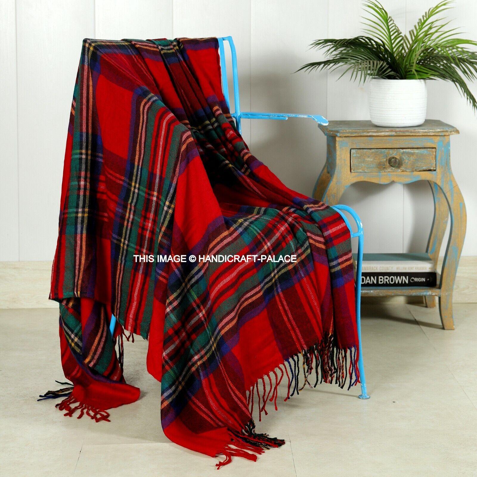 Weich & Warm Gestreift Wolldecke Tartan Plaid Überwurf 178cmx152cm Groß Indisch