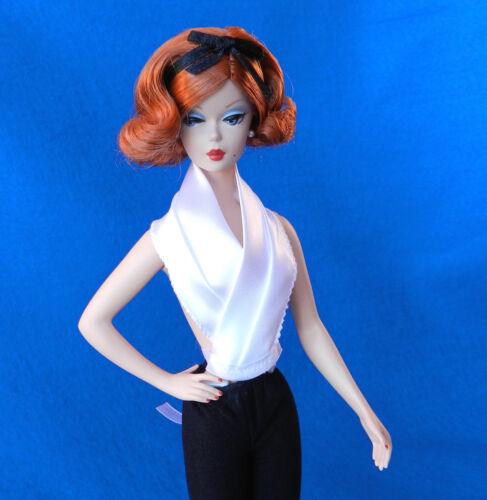 Barbie fashion HANDMADE vintage mod contemporary blouse dickie satin WHITE
