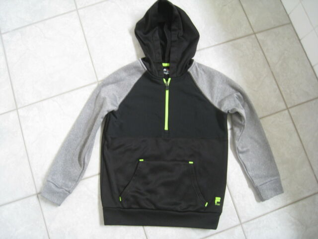 0ef9e01d3329 Kids Boys Fila Sport Half Zipper Black Gray Hooded Jacket Size S (8 ...