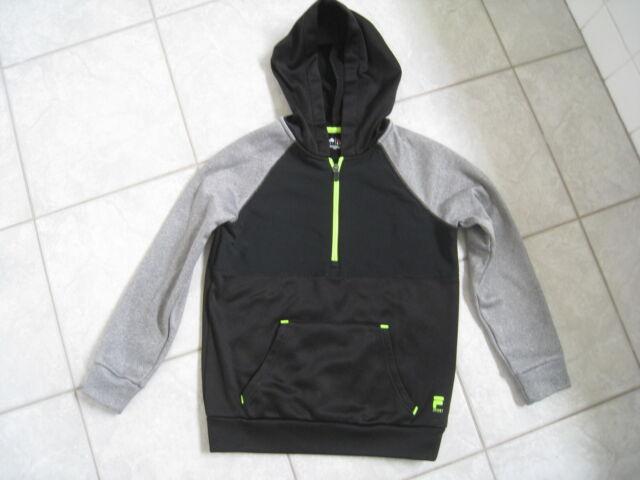 b0315697d632 Kids Boys Fila Sport Half Zipper Black Gray Hooded Jacket Size S (8 ...