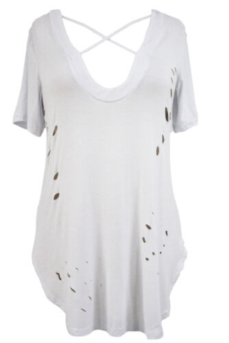 Olive crisscross neckline distressed baumwoll t-shirt damen top sommer