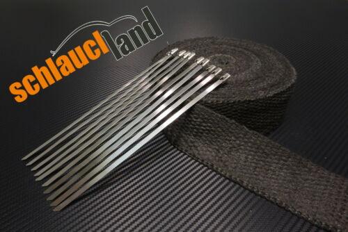 10 Kabelbinder***Heat Wrap 30m Keramik Hitzeschutzband 50mm schwarz 1200°C