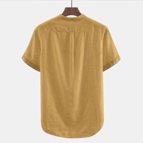 Bombachos Para Hombre Algodón Lino Botón De Mangas Cortas Camiseta Prendas para el torso Blusa Talla Grande P