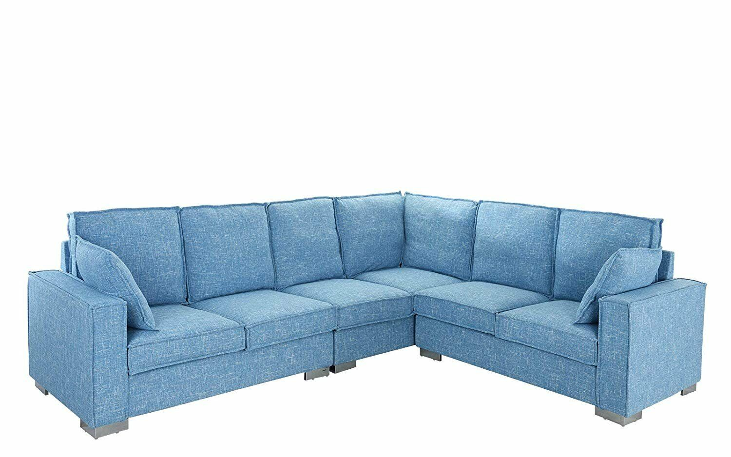 Large 101 2 Living Room Fabric Sectional Sofa Classic L Shape Couch Light Blue