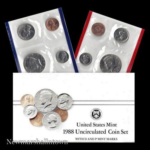 Mint Set ~ Kennedy Washington Roosevelt Jefferson Lincoln US Coins 1988 P+D U.S