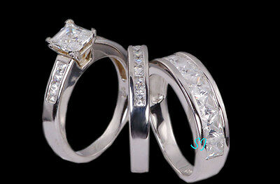 His & Hers 14k White Gold 925 Sterling Silver Engagement Wedding Ring Band Set