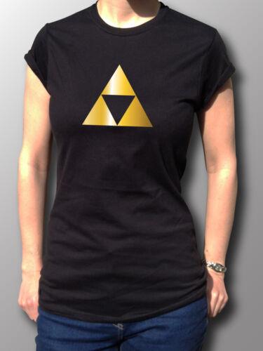 Zelda Triangle Tribute Geek Retro Gold Chrome Gamer T-Shirt Womens Black