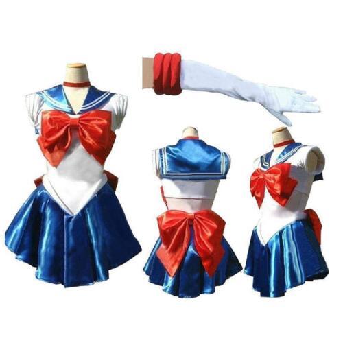Sailor Moon Costume Cosplay Uniform Fancy Dress Up Sailormoon Outfit /& Glove