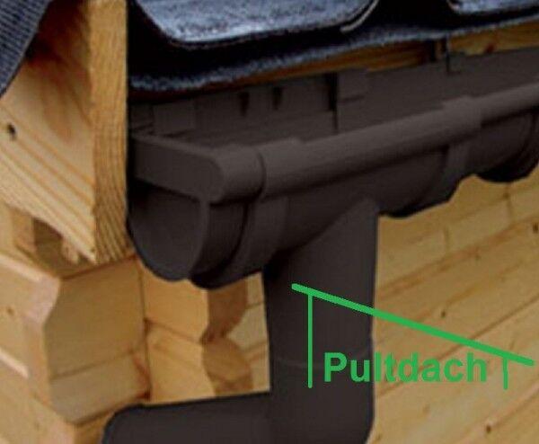 Halbrund-Dachrinnen-Set 5,50m für Pultdach-Gartenhaus anthrazit weiß braun Rinne