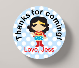 Girl Superhero Birthday Thank You Stickers Party Bag Sweet Cone
