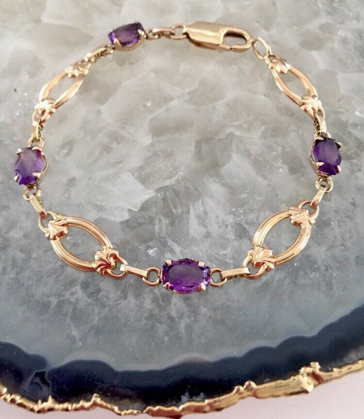 Vtg.14K. SOLID YELLOW gold TENNIS BRACELET WITH AMETHYST 8.5 Grams