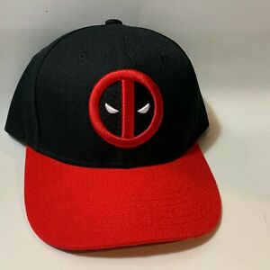 Marvel-DEADPOOL-Classic-Logo-Black-Red-Embroidered-Snapback-Baseball-Cap-Hat-NEW