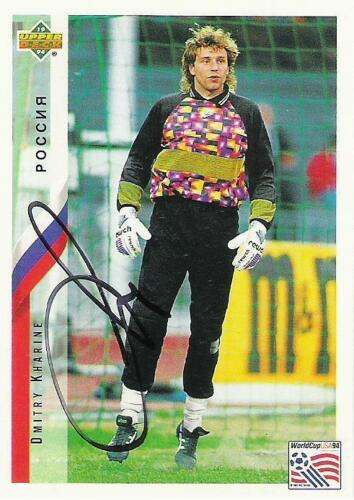 An Upper Deck World Cup USA 1994 card signed by Dmitry Kharine of Russia.